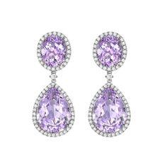 Lavender Amethyst Pear and Oval Drop Earrings