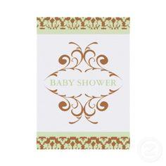 Elegant Damask Baby Shower Invitations