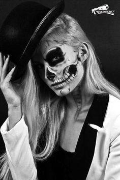 Estáis preparadas para #halloween? Mirad que maquillaje más chulo para una noche terrorífica. #makeup #skull