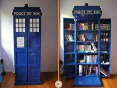 DIY Tardis Bookshelf. Click thru to the instructions