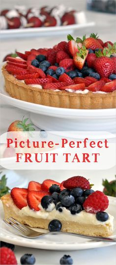 Ready to find out how to make this fresh and picture-perfect fruit tart right in your own kitchen? The post Fruit Tart with Custard Cream appeared first on Dessert Factory. Healthy Fruit Tart Recipe, Easy Tart Recipes, Fruit Recipes, Sweet Recipes, Baking Recipes, Dessert Recipes, Baking Ideas, Fresh Fruit Desserts, Fresh Fruit Tart