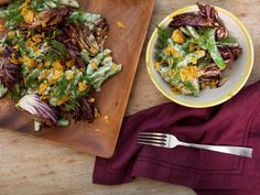 This bright salad coats chilled, crisp sugar snap peas in a tangy yogurt dressing to contrast warm, charred radicchio. Garlic Chips, Vegan Green Bean Casserole, Sugar Snap Peas, Summer Dishes, Serious Eats, Dressing Recipe, Soup And Salad, Summer Recipes, Cooking Recipes