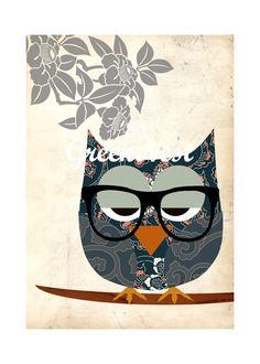 Asian Nerd Owl Collage Poster Print от GreenNest на Etsy
