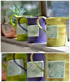 Macetas con aplique en cerámica #sofipocetticeramica #Ceramica #pottery #deco #torno #cuenco #ensaladera #botella #home