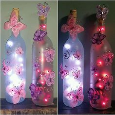 Glass Bottle Crafts, Diy Bottle, Bottle Art, Butterfly Birthday Party, Butterfly Baby Shower, Lighted Wine Bottles, Bottle Lights, Butterfly Lighting, Girl Baby Shower Decorations