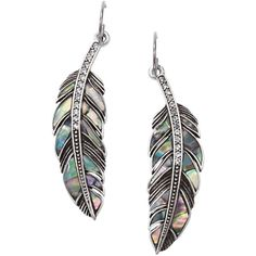 Fossil Earrings, Silver Tone Abalone Feather Earrings ($38) found on Polyvore
