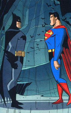 Batman and Superman by Tim Levins... Superman has a douche bag stance.