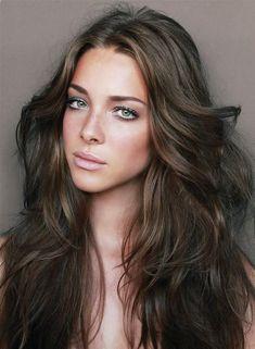 long brown hair | perfect perfect girl beach hair wavy hair freckles green eyes