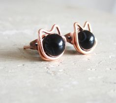 Black Cat Stud Earrings  Copper Wire Wrapped by contempojewels, $9.00