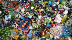 Joblot beads millefiori bead soup assorted charms pendants colourful random