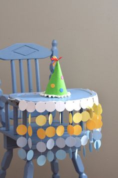 High Chair Birthday Banner  sunny circles by thePathLessTraveled