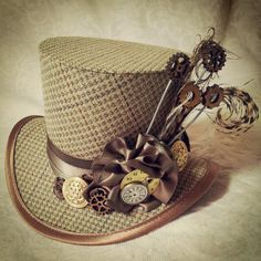4 top hat  Steampunk Tesla Clockwork Carnival by OohLaLaBoudoir, $79.00