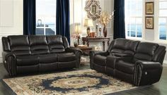Home Elegance 2 pc center hill collection black bonded leather match upholstered sofa and love seat with console and nail head trim Family Furniture, Living Room Furniture, Furniture Ideas, Living Room Seating, Living Room Sets, Leather Living Room Set, Leather Reclining Sofa, Buy Furniture Online, Upholstered Sofa