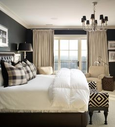 Joy Tribout Interior Design  black walls white ceiling, with light fabrics, room is still bright