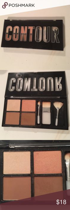 Contour kit with brushes Used once powder contour kit Makeup