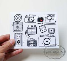 Set of Four Camera Folded Note Cards, Stationery, Hand Drawn, Illustration, Photography, Vintage Camera, Nikon, Kodak, Polaroid