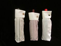 2 Wine Bags upcycled from french cuff shirt sleeves--blue via Etsy