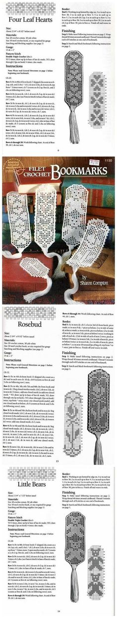 Free filet crochet bookmark patterns.:::