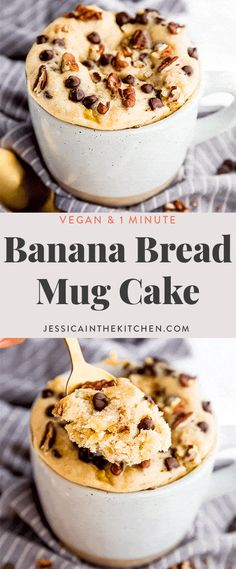 This Banana Bread Mug Cake (Vegan) will totally blow you away! It's vegan easily made in under 5 minutes start to finish and has a delightful banana bread flavour thats so addictive! Banana Recipes Vegan, Banana Dessert Recipes, Easy Cupcake Recipes, Mug Recipes, Delicious Vegan Recipes, Vegan Desserts, Baking Desserts, Cake Baking, Steak Recipes