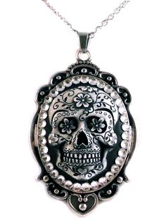"Women's ""Sugar Skull"" Cameo Necklace by Diamonds And Coal (Black)"