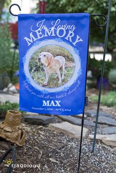 In loving memory: pet tribute garden flags for your special dog or cat.