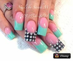 Nail art design #mint #french #acrylic #rhinestones #accent
