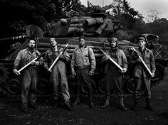 Fury — Michael Peña, Jon Bernthal, Brad Pitt, Shia LaBeouf, Logan Lerman | by Timothy White