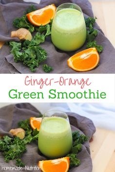 Kale, fresh ginger, and orange are a refreshing combination that makes this gree. Kale, fresh ginger, and orange are a refreshing combination that makes this green smoothie complete Healthy Green Smoothies, Healthy Breakfast Smoothies, Green Smoothie Recipes, Fruit Smoothies, Simple Smoothies, Ginger Smoothie, Raspberry Smoothie, Smoothie Cleanse, Gluten Free Recipes For Breakfast