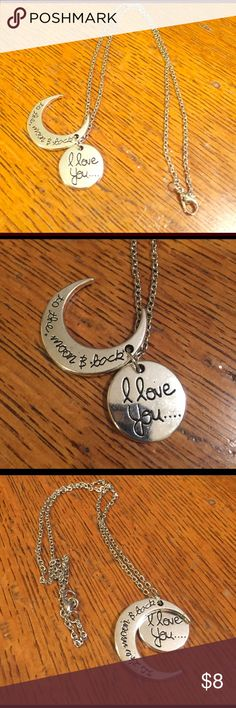 I love you to the moon and back necklace❤sale❤ 16 inch chain silver with silver medallion I love you and silver moon saying to the moon and back ❤ Jewelry Necklaces