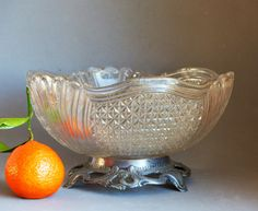 Vintage Cut Glass Bowl. French Cut Glass Fruit Bowl on a metal stand. Cut Glass Fruit Bowl. Pedestal Cut Glass Bowl. ANNIVERSARY GIFT French by JadisInTimesPast on Etsy