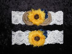 Yellow Brown Button Sunflower Somethng Blue Navy Burlap Shabby Horseshoe Country Western Rustic Lace Wedding Bridal Garter Set