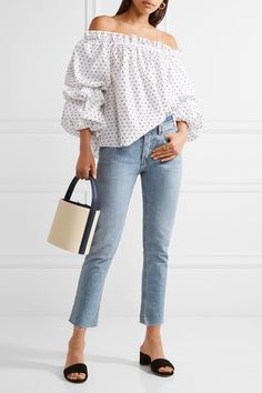 Caroline Constas - Gia Off-the-shoulder Swiss-dot Cotton Blouse - White - Off Shoulder Blouse, Off The Shoulder, Solid And Striped, Cotton Slip, Swiss Dot, Sarah Jessica Parker, Cotton Blouses, Bell Sleeve Top, Chic