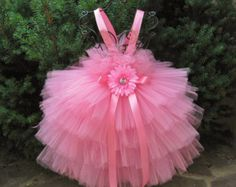 ROSA flor  rosa Tutu vestido  vestido de Florista  pálido