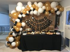 61 Super ideas birthday party table set up gold 40th Birthday Parties, Birthday Crafts, 50 Birthday, Birthday Ideas, Gold Party Decorations, Birthday Decorations, Gold Dessert Table, Black Dessert, Graduation Party Decor
