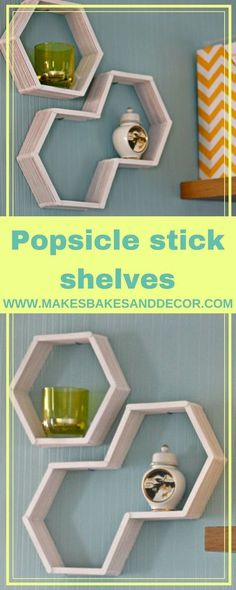 popsicle stick display shelves shelves made with just some popsicle sticks! A really cute and easy Make hexagon shaped display shelves using only Popsicle sticks and some glue! This is how I made my Popsicle Stick Display Shelves Diy Crafts For Adults, Easy Diy Crafts, Diy Arts And Crafts, Diy Crafts To Sell, Diy Crafts For Kids, Wood Crafts, Cute Crafts, Art Projects For Adults, Sell Diy
