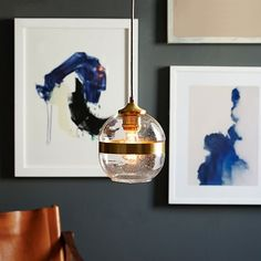 Banded Glass Pendant, Single Light, Antique Brass - same one...it's SEEDED!! LOVE!