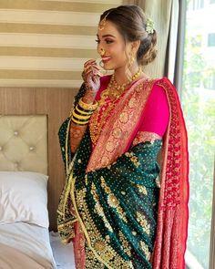 Marathi Saree, Marathi Bride, Marathi Wedding, Marathi Nath, Bridal Silk Saree, Saree Wedding, Wedding Dress, Desi Wedding, Wedding Outfits