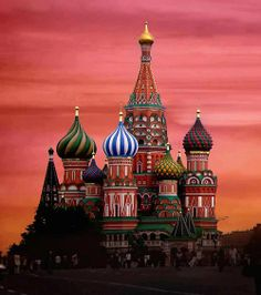Moscow, St. Basil Cathedral at sunset. #MostBeautifulArchitecture #Moscow