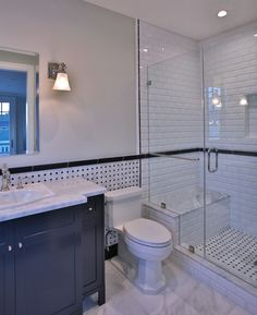 -Mixture of classic and contemporary elements -Light, bright feel -Neutral color palette Bathroom Wall, Small Bathroom, Bathroom Ideas, Luxury Interior Design, Bathroom Interior Design, Guest Bathrooms, Transitional House, Reno, Wall Tiles