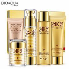 [ OFF ] Bioaqua Gold Makeup Moisturizing Whitening Cream Lotion Facial Face Day Cream Skin Care Cosmetic Set Bioaqua 24k, Facial Cleanser, Moisturizer, Creme Reparatrice, Gold Skin, Anti Ride, Cosmetic Sets, Firming Cream, Skin Care Cream