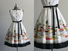 Vintage 50s Dress / 1950s Cotton Dress / Novelty Boat Print Sun Dress w/ Waist Tie XS on Etsy, $178.00