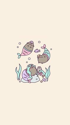 Imagem de art, neko, and pusheen cat and like OMG! get some yourself some pawtastic adorable cat shirts, cat socks, and other cat apparel by tapping the pin! Wallpaper Gatos, Unicornios Wallpaper, Kawaii Wallpaper, Pusheen Wallpaper, Wallpaper Ideas, Kawaii Drawings, Cute Drawings, Neko, Chat Kawaii
