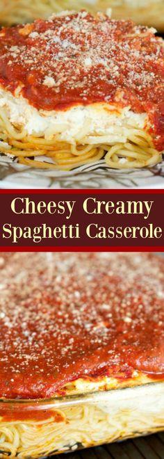 Cheesy Creamy Spaghetti Casserole - An easy weeknight dinner idea everyone…