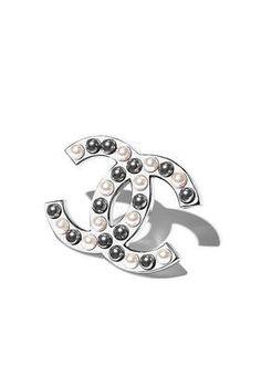 Brosche, metall & glasperlen-Silberfarben, Weiß & Grau - CHANEL