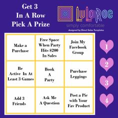 LulaRoe Facebook Game FREE Graphic by Direct Sales Templates for LulaRoe Consultantshttps://www.etsy.com/listing/521123210/lularoe-facebook-party-graphics