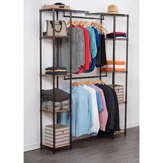Trinity's Expandable Closet Organizer is easy to adjust, and is the perfect addition to any closet or living space. This expandable, free-standing closet system comes with adjustable hanging rods creating Cheap Wardrobes, Ideas Armario, Cheap Closet, Simple Closet, Industrial Closet, Diy Wardrobe, Closet System, Dressing, Closet Bedroom