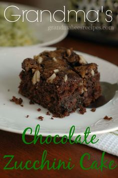 Chocolate Zucchini Cake - how could this not be delicious with chocolate chips, brown sugar and almonds baked on top!