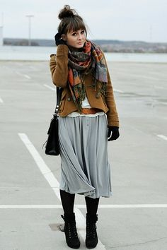Best outfit EVER! Love that skirt, with the tights, jacket, and scarf!!! Perfection.