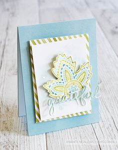 We love the color palette on this gorgeous card with the Light Hearted Leaves stamp set.