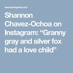 "Shannon Chavez-Ochoa on Instagram: ""Granny gray and silver fox had a love child"""